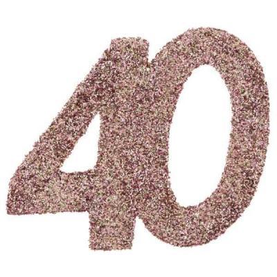 Confettis de table anniversaire 40 ans rose gold pailleté (x6) REF/7306