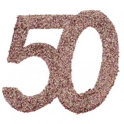 Confettis de table anniversaire 50 ans rose gold pailleté (x6) REF/7306