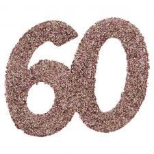 Confettis de table anniversaire 60 ans rose gold pailleté (x6) REF/7306