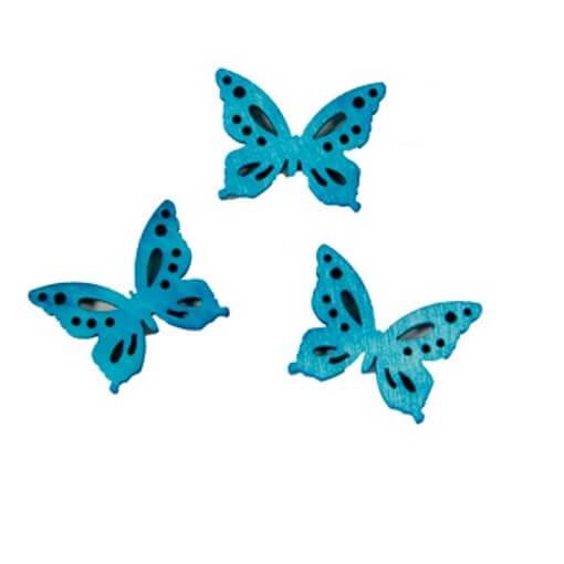 Confettis de table papillon bleu turquoise en bois