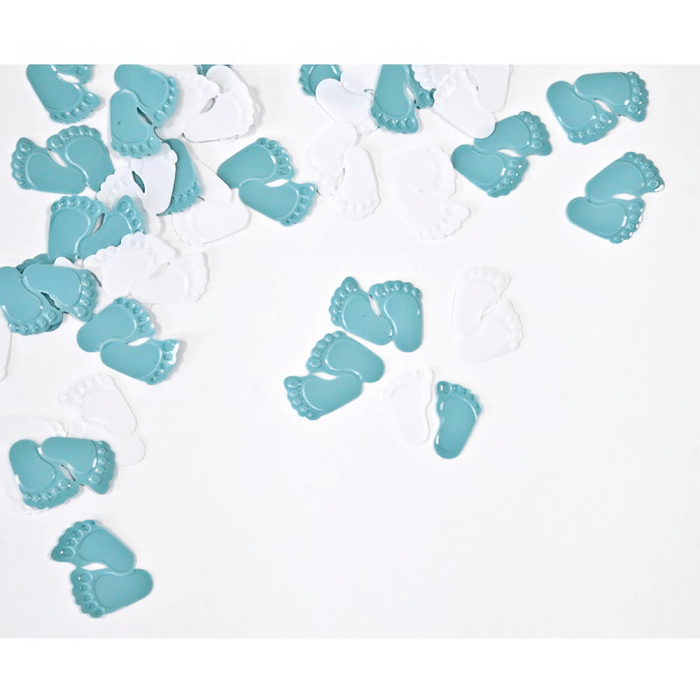 Confettis de table pied de bebe bleu