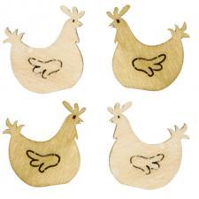 Confettis de table Pâques poule en bois (x12) REF/PAQ1008