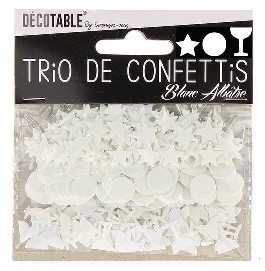 Confettis etoile rond et coupe blanc