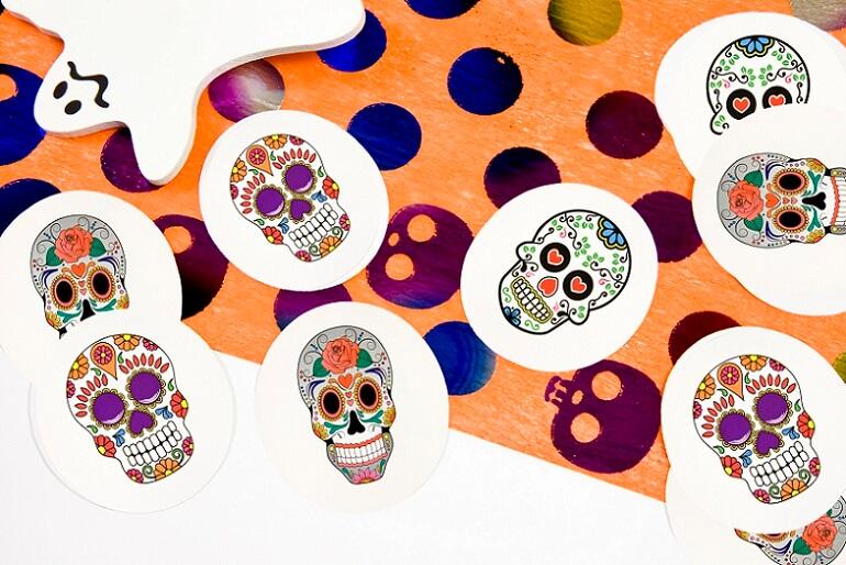 Confettis halloween tete mexicaine