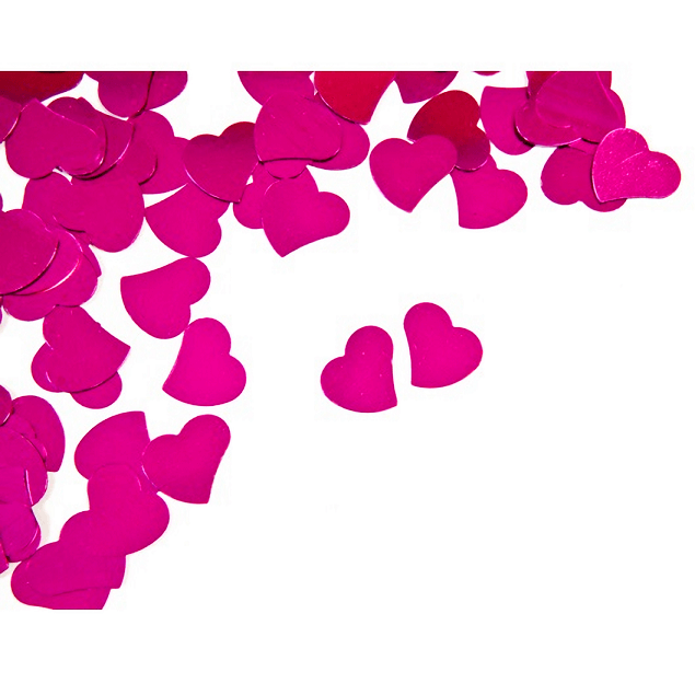 Confettis mariage coeur fuchsia