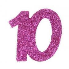 Confettis pailleté anniversaire fuchsia 10ans (x6) REF/4714