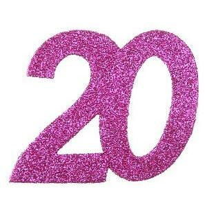 Confettis pailleté anniversaire fuchsia 20ans (x6) REF/4714