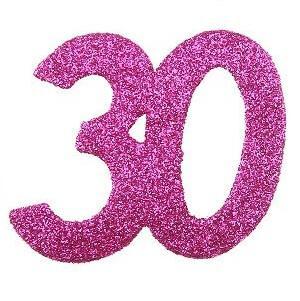 Confettis pailleté anniversaire fuchsia 30ans (x6) REF/4714