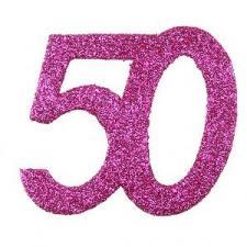 Confettis pailleté anniversaire fuchsia 50ans (x6) REF/4714