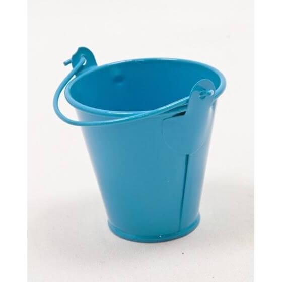 Contenant a dragees seau en metal bleu turquoise