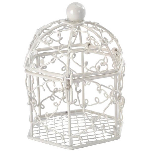 Contenant bonbonniere cage blanche