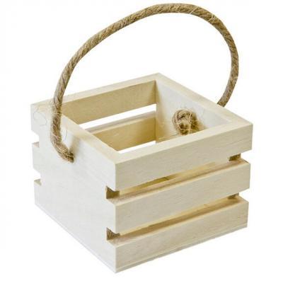 Contenant panier en bois: Cagette avec anse (x1) REF/BT2605