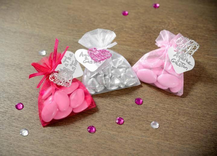 Contenant sachet a dragee rose en oragndi pour confection