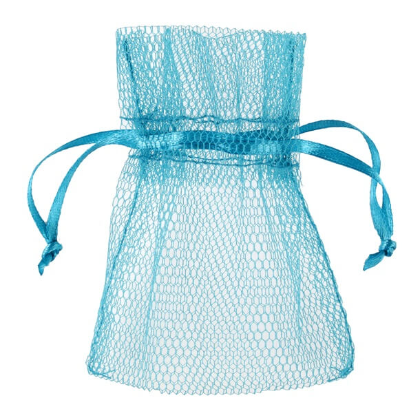 Contenant sachet tulle bleu turquoise pour dragee