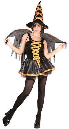 Costume adulte M: Sorcière sexy orange et noire (x1) REF/86887