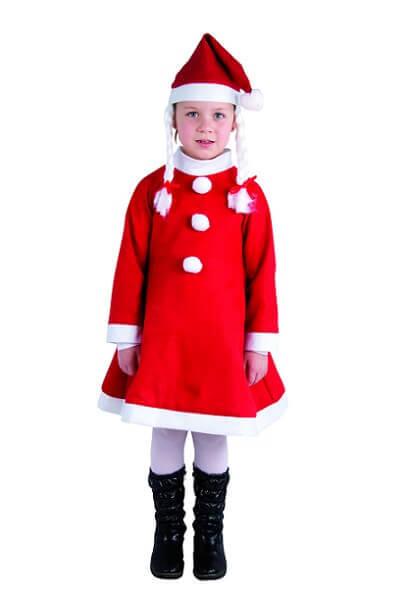 Costume enfant fille mere noel