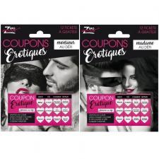 1 Pack cadeau défi érotique avec coupons pour enterrement de vie de célibataire REF/SEXR006-SEXR007