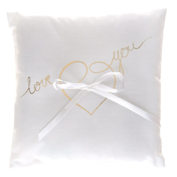 Coussin a alliance mariage blanc et or