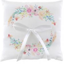 Coussin à alliances mariage avec fleurs décoratives (x1) REF/7393