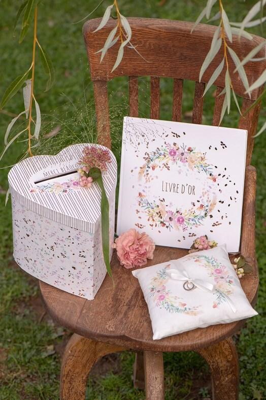 Coussin alliance mariage champetre decoration fleur