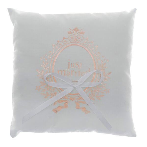 Coussin mariage just married blanc et rose gold
