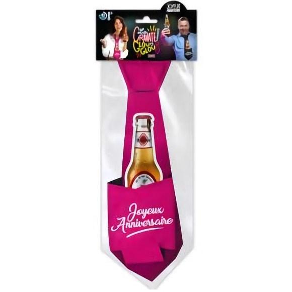 Cravate joyeux anniversaire fuchsia pour cadeau de fete