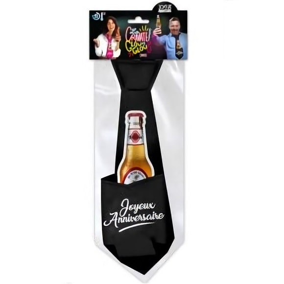 Cravate joyeux anniversaire noire pour cadeau de fete