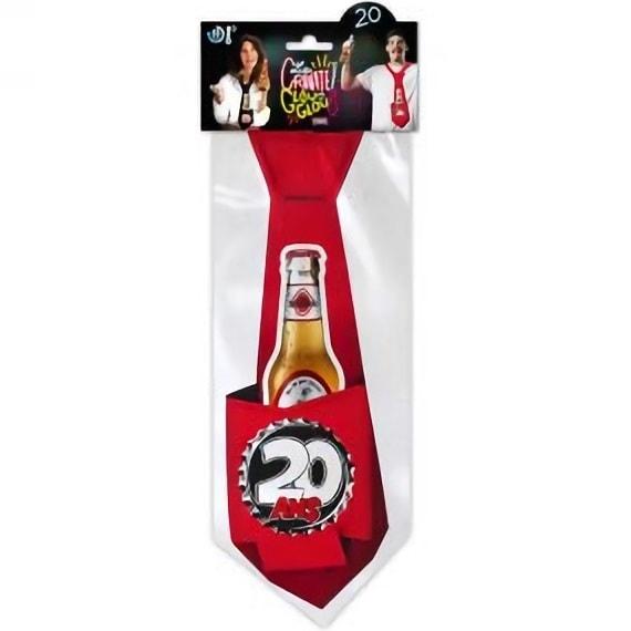 Cravate rouge anniversaire 20ans pour cadeau de fete