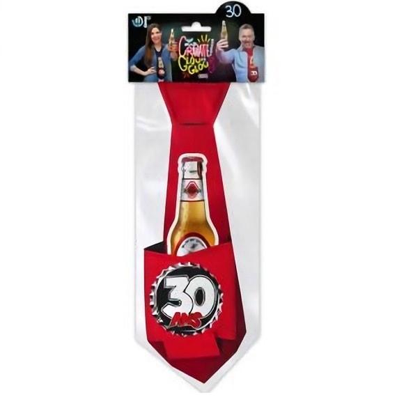 Cravate rouge anniversaire 30ans pour cadeau de fete