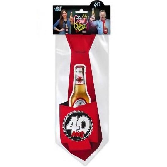Cravate rouge anniversaire 40ans pour cadeau de fete