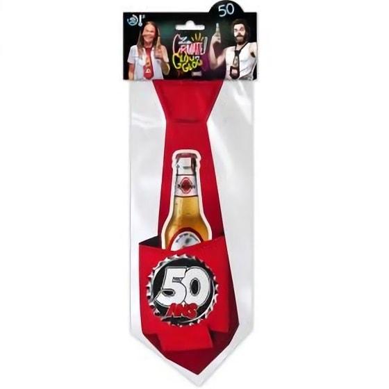 Cravate rouge anniversaire 50ans pour cadeau de fete