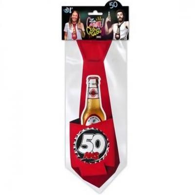 Cravate anniversaire 50ans rouge pour cadeau (x1) REF/CRAVG05R