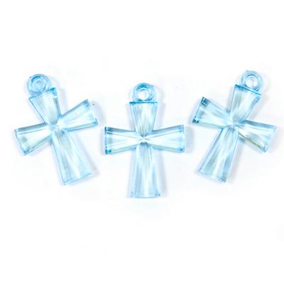 Croix translucide bleu turquoise (x10) REF/MT631