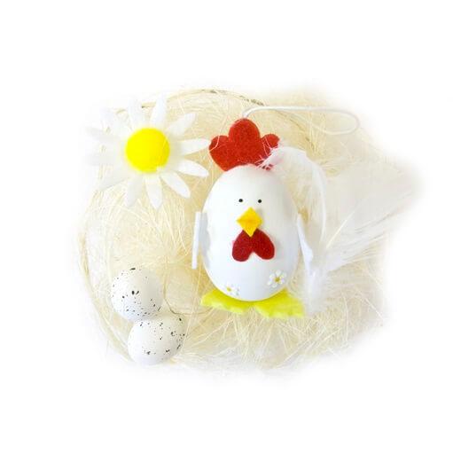Decor de paques oeuf et poule blanche