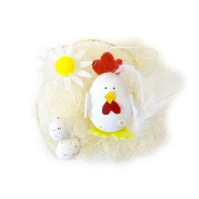 Décor de Pâques oeuf et poule blanche (x1) REF/DEC819
