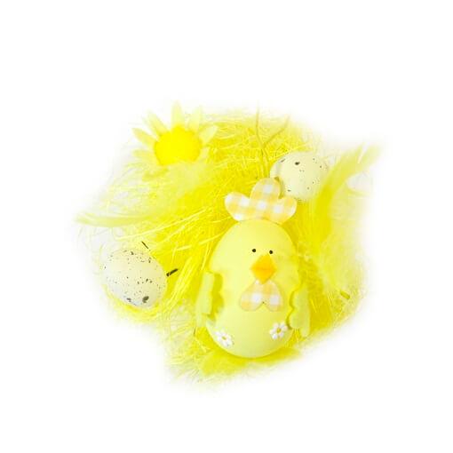 Decor de paques oeuf et poule jaune