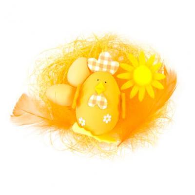 Décor de Pâques oeuf et poule orange (x1) REF/DEC819