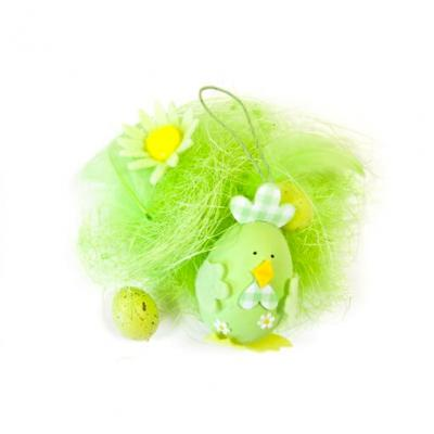 Décor de Pâques oeuf et poule verte (x1) REF/DEC819