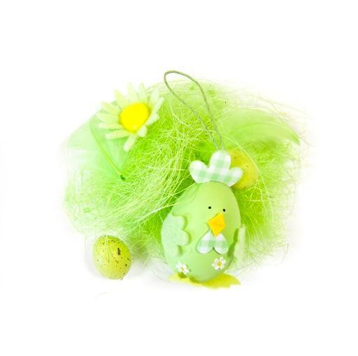 Decor de paques oeuf et poule verte