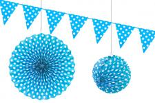 Décoration à suspendre pois bleu turquoise (x3) REF/GUI075