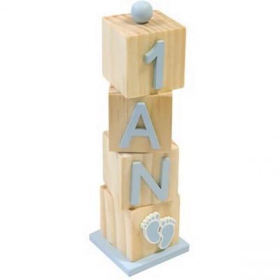 Décoration anniversaire 1 an cube en bois bleu ciel et naturel (x1) REF/DEK0519