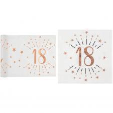 1 Pack décoration anniversaire 18ans de 20 serviettes et 1 chemin de table blanc et rose gold.