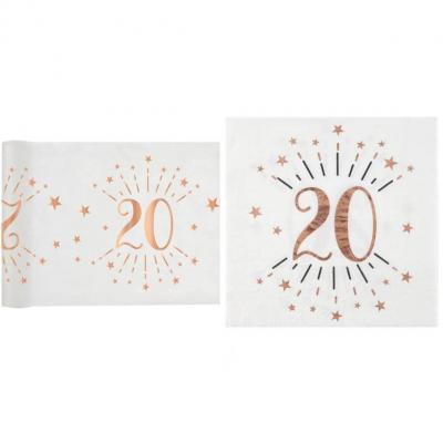 1 Pack décoration anniversaire 20ans de 20 serviettes et 1 chemin de table blanc et rose gold.