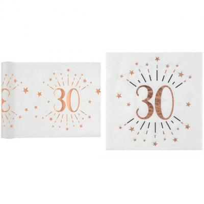 1 Pack décoration anniversaire 30ans de 20 serviettes et 1 chemin de table blanc et rose gold.