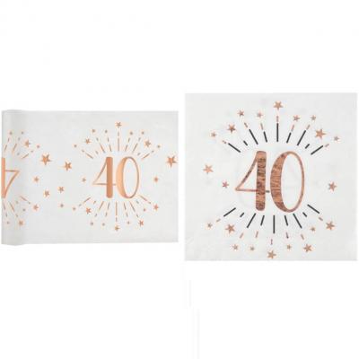1 Pack décoration anniversaire 40ans de 20 serviettes et 1 chemin de table blanc et rose gold.
