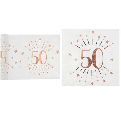 1 Pack décoration anniversaire 50ans de 20 serviettes et 1 chemin de table blanc et rose gold.