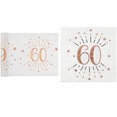1 Pack décoration anniversaire 60ans de 20 serviettes et 1 chemin de table blanc et rose gold.