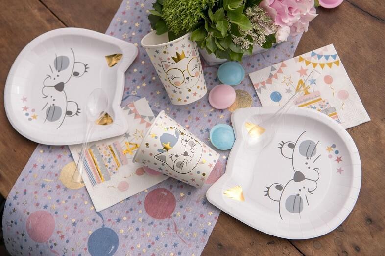 Decoration anniversaire enfant avec assiette chaton