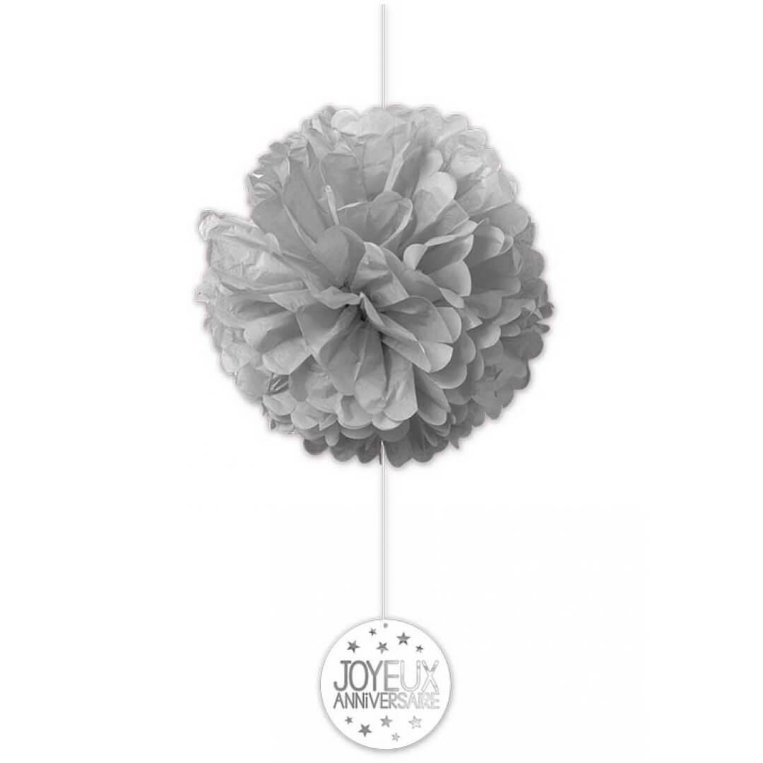 Decoration anniversaire grise avec 2 boules en soie