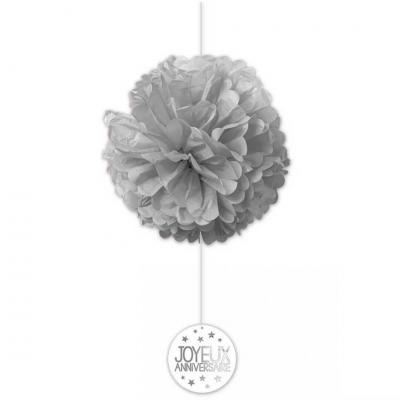 Décoration anniversaire grise avec 2 boules en soie (x1) REF/FDSG